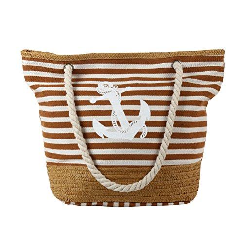 Fieans Damen Leinwand Schultertasche Große Handtasche Strandtasche Tragetasche Umhängetasche für Urlaub Picknick Shopping - Khaki, Anker&Streifen