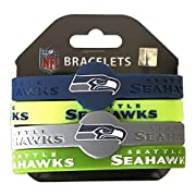Vibrant Silicone Bracelets Measure Approximately 1/2-inch Decorated with Team Colored Logo and Team Wordmark Comes in a 4-Pack One Size Fits Most NFL Officially Licensed. Makes for a cute gift!