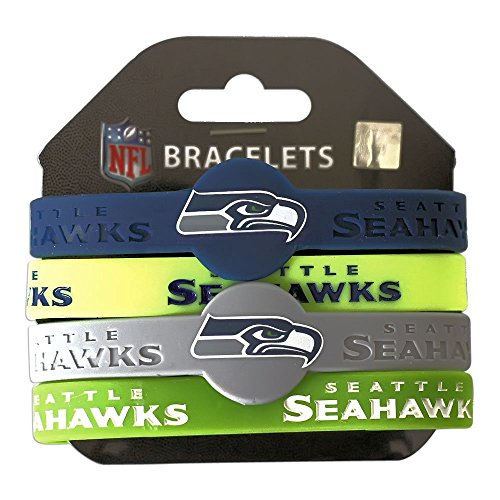 NFL Seattle Seahawks Silicone Bracelets, 4-Pack
