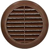 KOTARBAU Rejilla de ventilación 100 mm, redonda, marrón, protección contra insectos, conexión de tuberías, salida de aire
