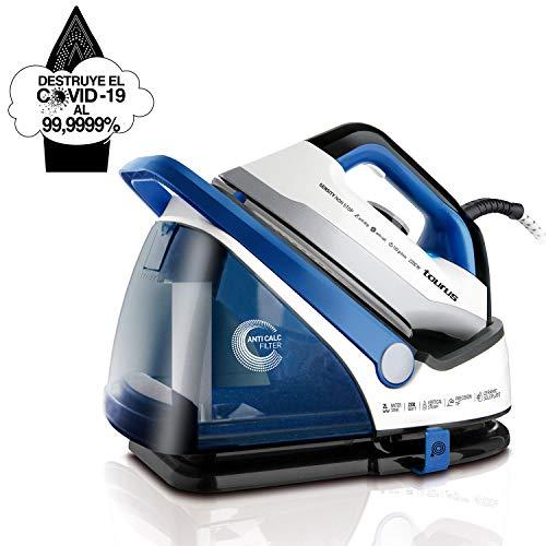 Taurus Sensity Non Stop Centro de Planchado, Elimina el 99,9999% de Virus y bacterias, Depósito Extraíble, 2200 W, 2 litros, 220, Acero Inoxidable, Azul/Blanco