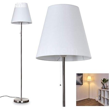 Lampadaire Nuoro en métal et tissu blanc, lampe sur pied moderne, idéale dans un salon contemporain, avec interrupteur à tirette, pour 1 ampoule E27 max. 40 Watt, compatible ampoules LED