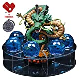 LooQin Dragon Ball Action Shenron Figure with Dragonballs Crystal Ball Set 3.5cm Dragon Ball with Shelf Desk Decoration