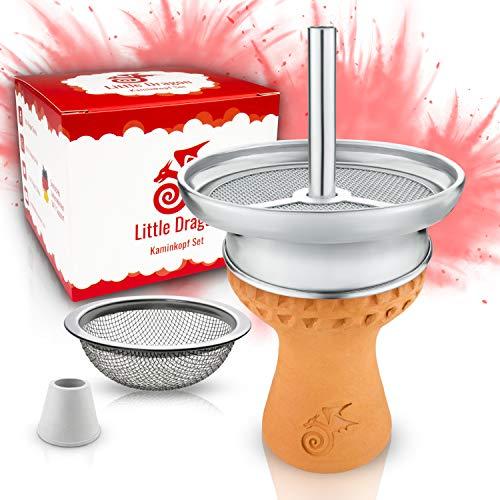 Shisha Kopf Set - Hitzeoptimierter handmade Voll-Tonkopf für dichten Rauch inkl. Kaminaufsatz + Shisha Sieb & Dichtung - Einfacher Kopfbau für intensiven Geschmack - Hochwertiges Shisha Zubehör