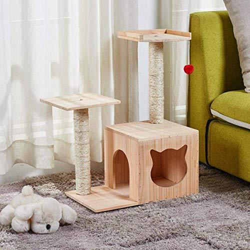 Qazxsw Spieltürme Bäume für Katzen Massivholz Katze Klettergerüst Katzenstreu Scratch Board Sisal Grab Column Springplattform Pet House Four Seasons Supplies