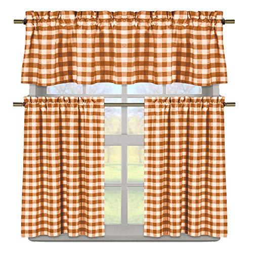 Duck River Textile Buffalo Plaid Gingham Checkered Premium Cotton Blend Kitchen Curtain Tier & Valance Set, Peach Orange & White