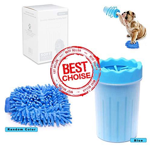 hundepfoten Reiniger,Haustier pfotenreiniger mit Handtuch ,pet Reinigung Pinsel, Blau/(Frottee in einer zufälligen Farbe)