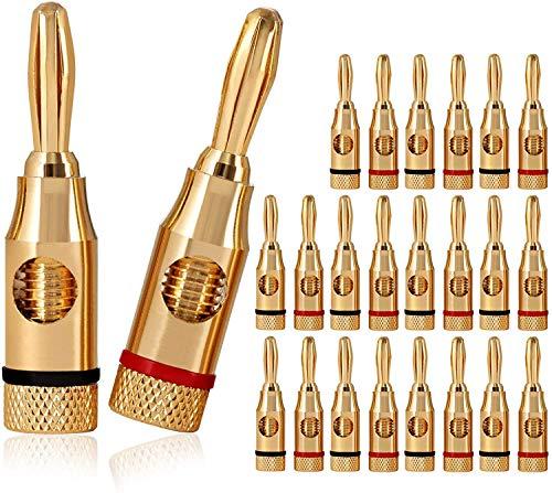 RUNCCI-YUN 24pcs Conector Banana Macho,24K Oro Enchapado 4 mm Audio Conector, 4mm Conector Altavoces,Clavija Banana Conectores,(12pcs Rojo y 12pcs Negro)