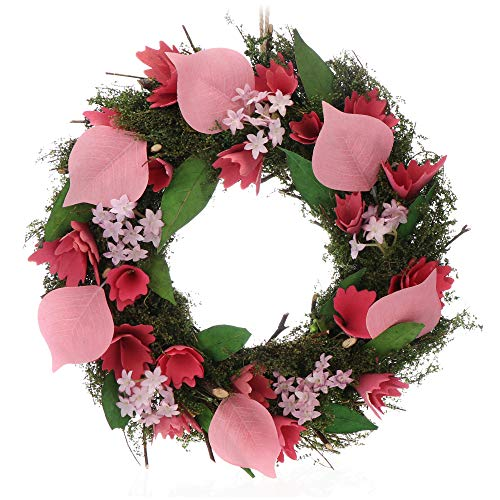 com-four® Corona de Pascua con Flores de Madera y Hojas, Corona de Mesa Decorativa, Corona de Puerta con Percha, diámetro Aprox.30 cm (Rosado. Rosado)
