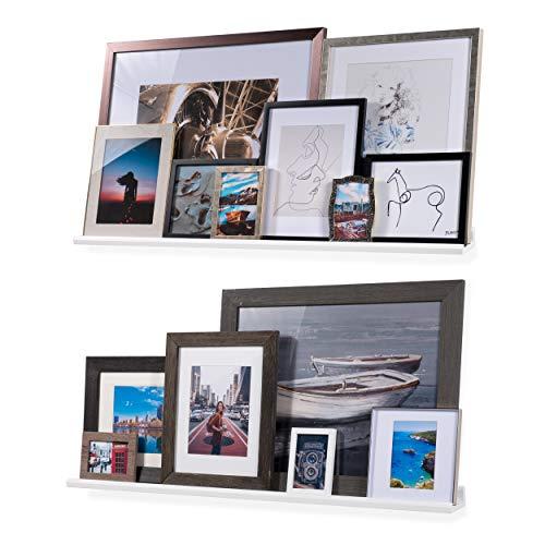 """Wallniture Boston Floating Shelves 46"""" Wall Decor White Bookshelf for Picture Frames, Toddler Toys, Kids Books, Set of 2"""
