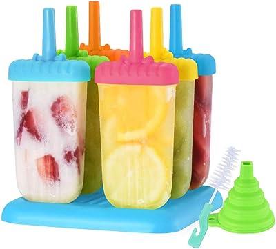 TORENG Popsicle Molde Para Paletas de Hielo Heladas, 6 Cavidades Ice Pops Molde Para Hacer Paletas De Hielo, Reutilizables y Libres de BPA
