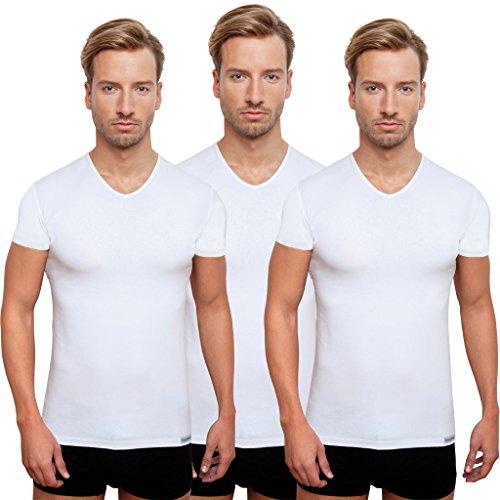 Schaufenberger 3 weiße Kurzarm Unterhemden, V-Neck, Vorteilsangebot, Weiß, Größe M