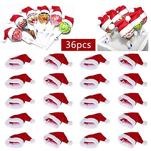 Mini Weihnachtsmütze, 36Pcs Mini Weihnachtsmann Lollipop Top Wraps Toppers, Für Xmas Silverware Halter, Süßigkeiten Abdeckungen, Weinflasche Dekor (Rot)