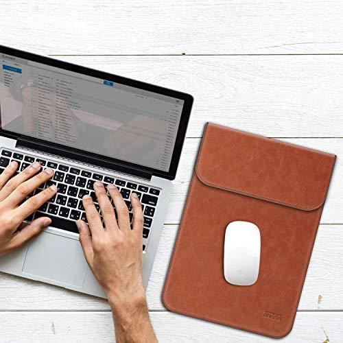 TECOOL 15 Zoll Laptop Hülle Kunstleder, Kunstleder Laptop Schutzhülle Wasserdicht Kratzfest Sleeve Case Tasche für 2012-2019 MacBook Pro 15 (A1990/A1707/A1398), 2019 MacBook Pro 16 A2141 - Braun