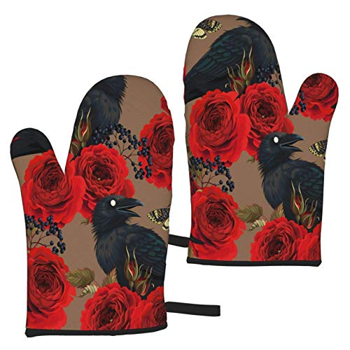 hgdfhfgd Raven Hawk Moths and Roses Oven Mitts Heat