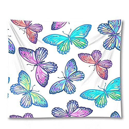 Tapiz de 3D Color Animal Mariposa Decoración Arte de la Pared Colgante de Pared Decoración del hogar Colcha Manta Estera de Yoga 59.05'x39.37 Pulgadas