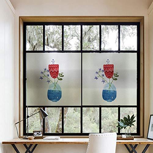 TFOOD Fami Raamfolie, esthetiek, eenvoudig beschilderd, abstracte rode bloem, groen blad, lila, bloem, plant, vaas patroon, decoratieve glasfolie, antistatische zelfklevende raamstickers voor jongens en meisjes