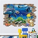 Mddjj Obra de cocina casera 3D Delfines Pegatinas De Pared Mundo Submarino Sala De Estar Dormitorio Decoración Del Hogar Acuario De Mar Delfines Peces Sala De Niños Cartel Azul