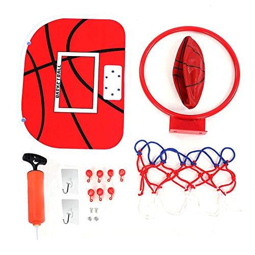 Dilwe Mini Basketball Set, einstellbar Mini Basketballkorb Wand Basketballspielzeug mit Aufhänger Pumpe Installation Armaturen für Kinder Spiel(Kleben Haken)