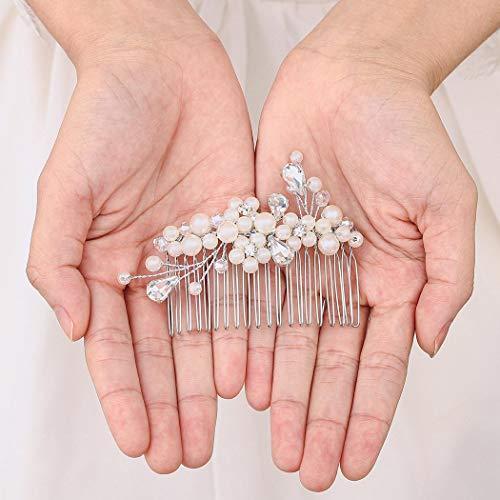Handcess Peineta de pelo de perlas de boda con cristales de plata y diamantes de imitación, accesorios para el pelo para mujeres y niñas