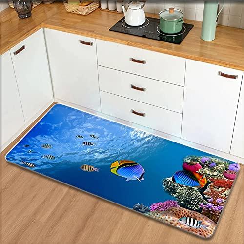 OPLJ Alfombra Antideslizante de Cocina Impresa del Mundo Submarino, Alfombra de Puerta de Entrada para decoración de Sala de Estar,...