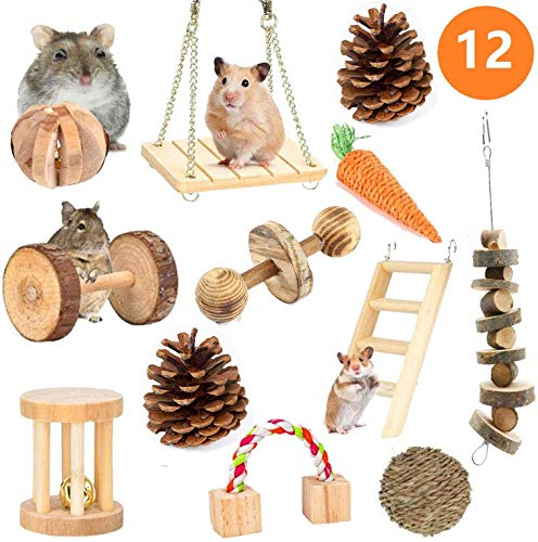 AWITHZ Hamster Chew Toys, Guinea Pig Toys Natural Wooden Pine Rats Chinchillas Toys Accessories Dumbells Exercise Bell Roller Teeth Care Molar Toy for Birds Bunny Rabbits Gerbils (Toy-5)