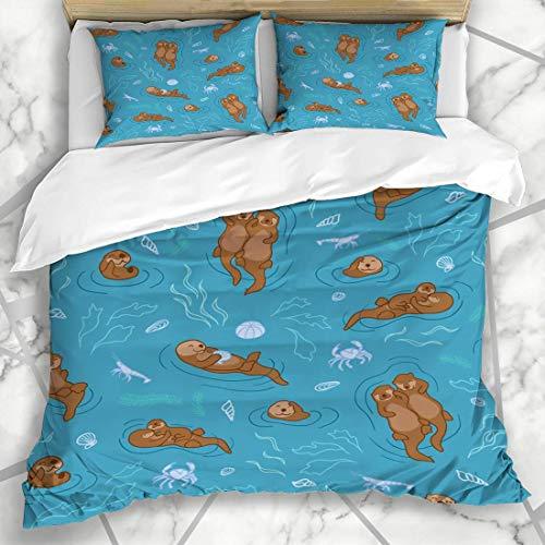 ZORMIEY Bettwäsche - Bettwäscheset Blaues Otter-Muster-Seetürkis-Paar-Krabben-niedliches glückliches Entwurfs-Lieben Mikrofaser weich dreiteilig Mit 2 Kissenbezügen 160 * 220