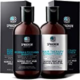 Psoriasis Shampoo and Conditioner Set - Complete Peat Mud Therapy for Itchy Scalp. Natural Healing Peat, Argan and Olive Oil Treatment, No Coal Tar. For Both Men and Women.