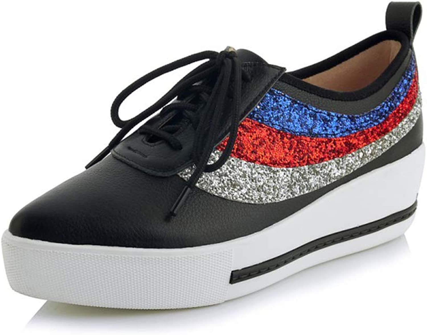 Women's Deck shoes Leather Fashion Pointed Lazy shoes Sequined Platform shoes Lace Up Low-Top Casual shoes Black Beige,Black,38