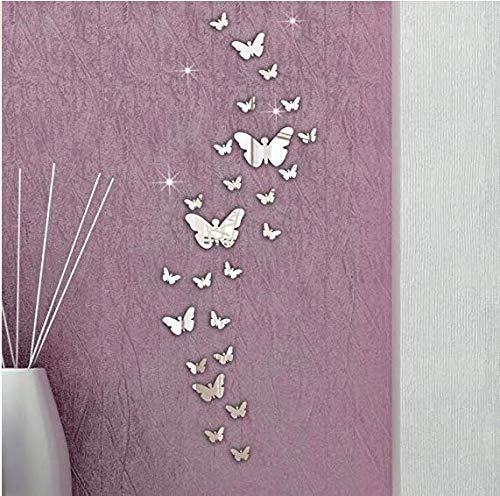 Gearmax® 25pcs Papillon Acrylique Miroir Rectangle Mur Autocollant Accueil Salle Art Stickers