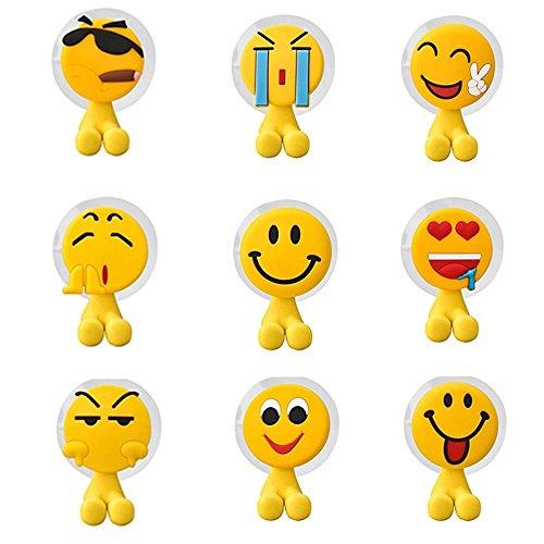 Fun Emoji-Zahnbürstenhalter Set EMOTICON Style für Kinder, perfekt für motivierend Ihre Kinder, Pinsel Ihre Zähne, 9 Stück Wand montiert Saugnapf Haken für Dusche, Bad, Garage, Büro