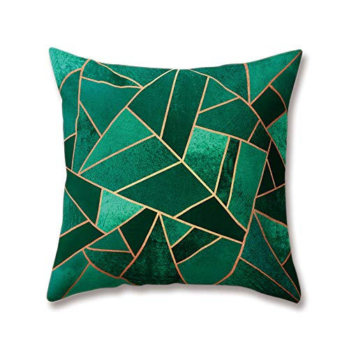 Hengjiang Weich Plüsch Nordic Style Kissen grün Schwarz Dreieck Druck 18x 18/45x 45cm Überwurf Weicher, Einfarbiger Kissen für Home Sofa Bett Deko, Polyester, 13, 45 cm*45 cm
