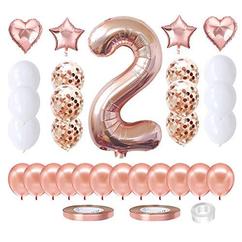 Cumpleaños Globos 2,Globo 2 años niña,Globo Numero 2 Gigantes,Set Globos Decoracion Bautizo Comunión Fiesta Cumpleaños Party,Feliz cumpleaños Decoración Globos 2 (2)