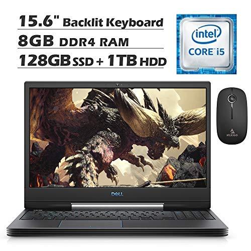 2020 Dell G5 5590 15.6 Inch FHD Gaming Laptop (Intel 4-Core i5-9300H up to 4.1 GHz, GTX 1650 4GB, 8GB RAM, 128GB SSD (Boot) + 1TB HDD, Backlit KB, Win10) + NexiGo Wireless Mouse Bundle