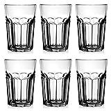 UNISHOP Set de 6 Vasos de Cristal Transparentes, 360 ml de Capacidad, Aptos para Lavavajillas y Microondas