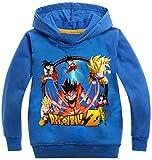 Silver Basic Sudadera Deportiva para Niños Sudadera con Capucha Dragon Ball Super Goku para Niños110, Azul A-3