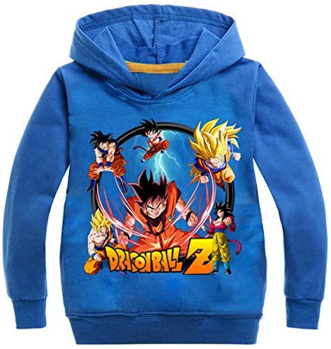 Silver Basic Sudadera con Capucha Unisex Anime Dragon Ball Z Son Goku Kakarotto Jumper para Niños y Niñas120, Azul A-1