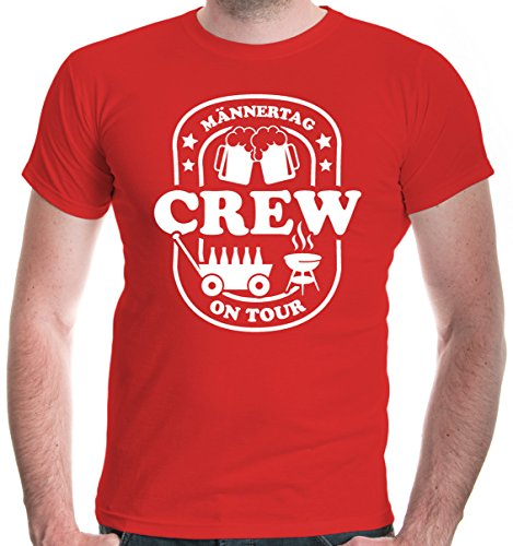 buXsbaum® Herren T-Shirt Männertag Crew On Tour | Vatertag Herrentag | Funshirt Männer Bollerwagen Party | XL, Rot