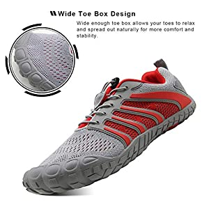Oranginer Men's Barefoot Shoes Lightweight Athletic Trail Running Shoes Men Gray/Red Size 10