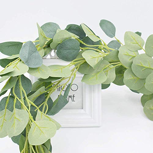 Eculaptus Garland 3 Strands, 6 FT Fake Vine Artificial Flowers Hanging Plant Greenery for Farmhouse Room Wall, Wedding Party Backdrop Decorations, , 10pcs Free Nylon Cable Tie