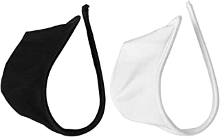 2/Pack Men's Solid White Black C String Thong Underwear Invisible Briefs