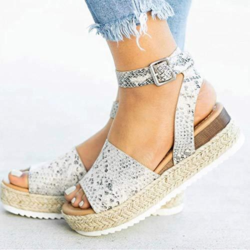LWYY Sandalias De Mujer,Sandalias para Mujer Plus Cuñas De Tamaño Pitón Zapatos para Mujer Sandalias De Tacón Alto Zapatos De Verano Chanclas Chaussures Plataformas Sandalias,39