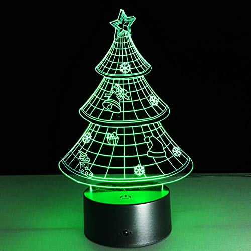 3D Christmas Tree Night Light Led Optical Illusion Lamp 16 Color Change Table Desk Lamp for Living Room Kids Bedroom Home Decoration Birthday Christmas Holiday Gift Toys with Remote