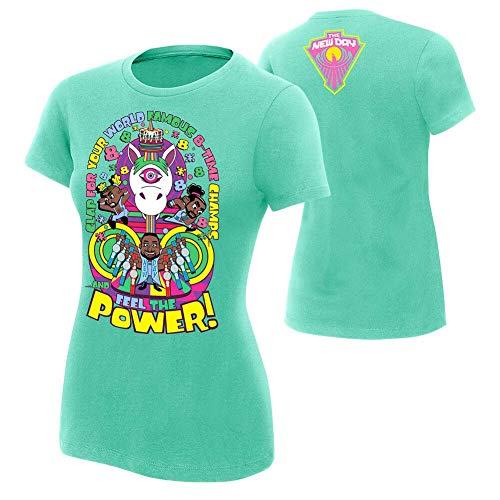 WWE Authentic Wear The New Day World Famous 8-Time Champs Women's T-Shirt Scuba Blue Large