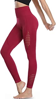 Picotee Women's Workout Leggings 7/8 High Waist Yoga Pants Black Red Sports Running Active Tights