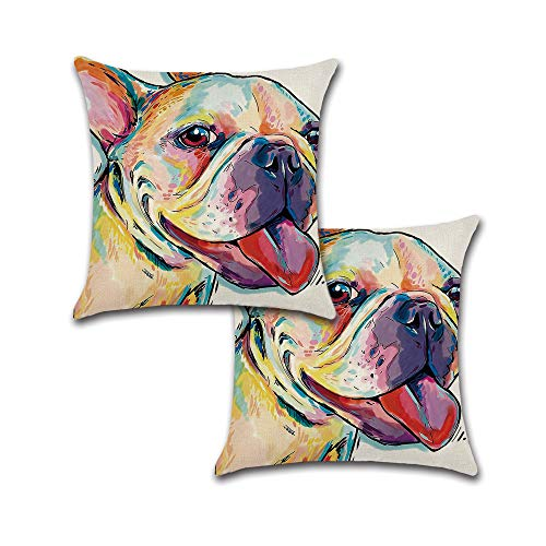 Holiday Depot Set of 2 Pillow Covers 18x18, French Bulldog Pattern Cotton Linen Fabric Cute French Bulldog Pet Art Decorative Indoor/Outdoor Throw Pillow Case Set 45x45cm