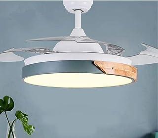 AIZPX Ventilador de techo con luz LED de techo de interior Nordic Dining Room Habitación infantilluces-Atenuación trianual de doble control cian