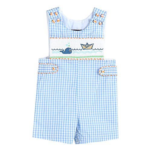 Lil Cactus Baby & Toddler Boys Embroidered One-Piece Shortall Jon Jon, Blue Whale, 12-18 Months