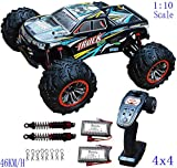 Blomiky 9125 Large Size 1/10 Scale 46KM/H High Speed Waterproof IPX4 4WD RC Toys Trucks for Kids and Adults 9125 Black Blue