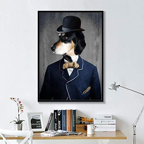 ganlanshu Rahmenloses Gemälde Elegantes Schwarzweiss-Hundekatze-Wolfsfuchs-Wandkunstplakat und Tiermuster mit HutdekorationZGQ7070 40X50cm